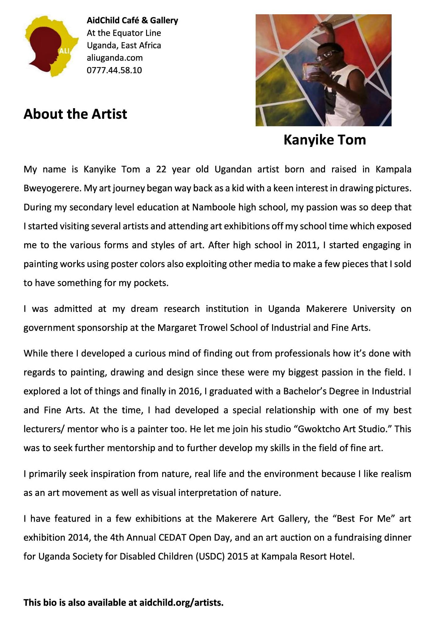 About the Artists - ALIUGANDA COM - The AidChild Leadership
